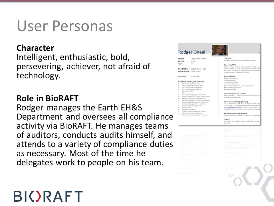 User Personas Character Intelligent, enthusiastic, bold, persevering, achiever, not afraid of technology.