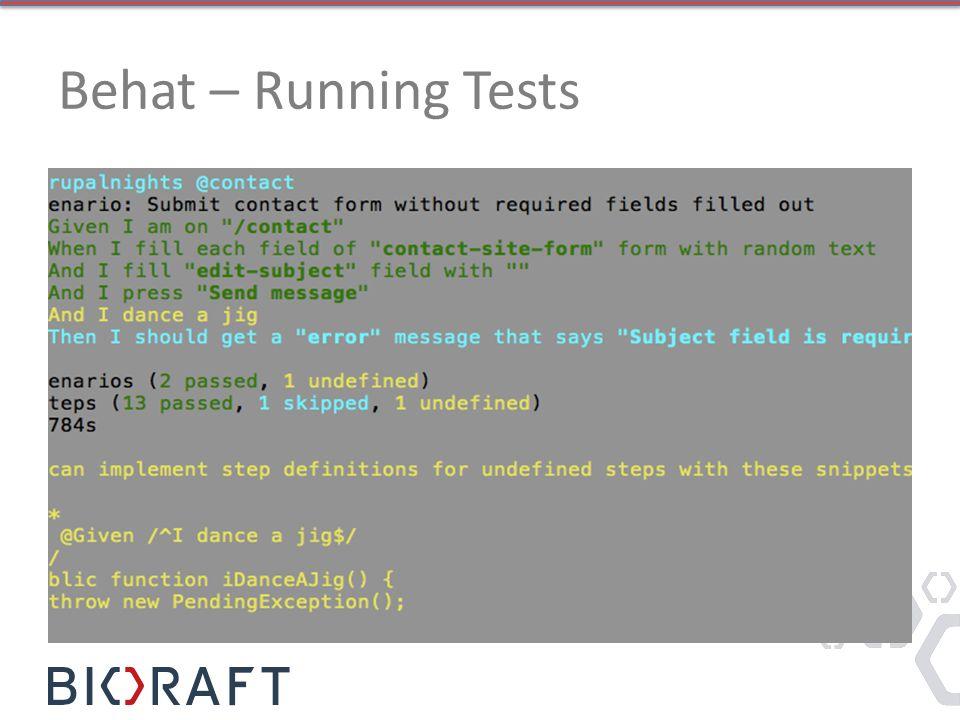 Behat – Running Tests