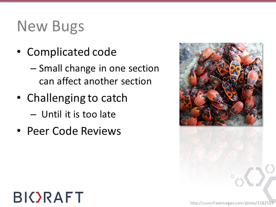New Bugs Complicated code Challenging to catch Peer Code Reviews