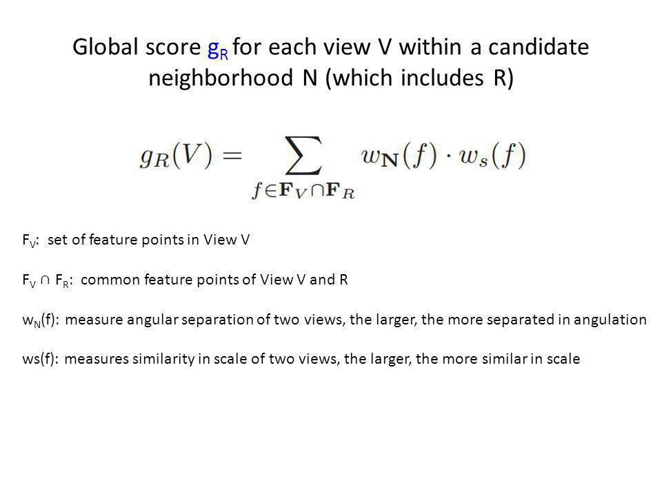 Global score gR for each view V within a candidate neighborhood N (which includes R)