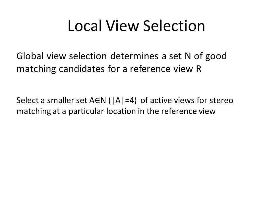 Local View Selection Global view selection determines a set N of good matching candidates for a reference view R.