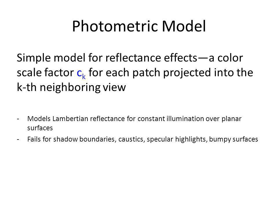 Photometric Model Simple model for reflectance effects—a color scale factor ck for each patch projected into the k-th neighboring view.