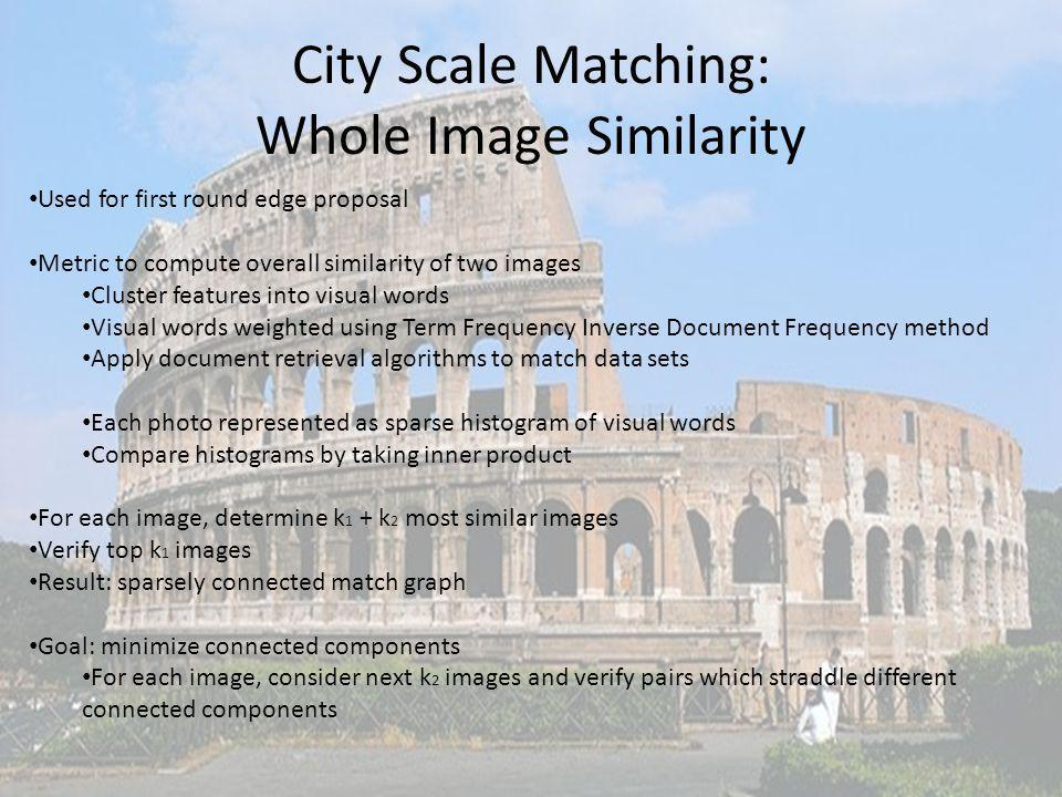 City Scale Matching: Whole Image Similarity