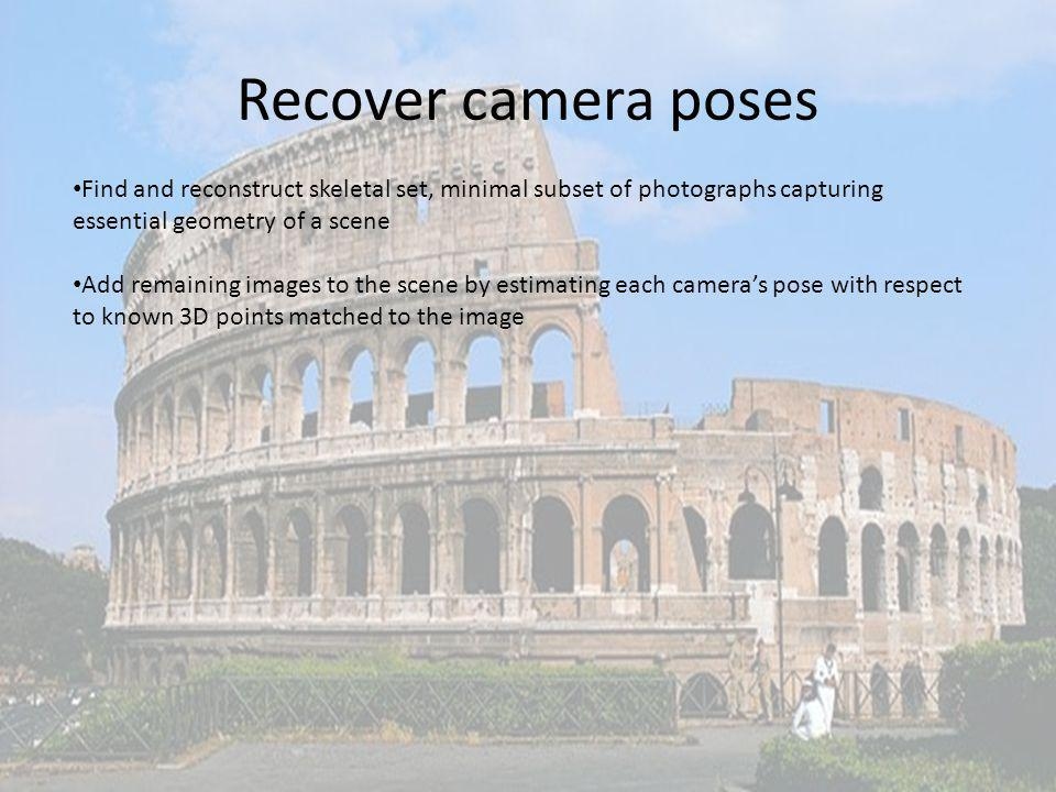 Recover camera poses Find and reconstruct skeletal set, minimal subset of photographs capturing essential geometry of a scene.