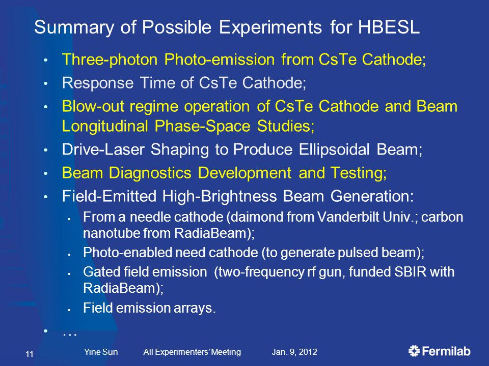 Summary of Possible Experiments for HBESL