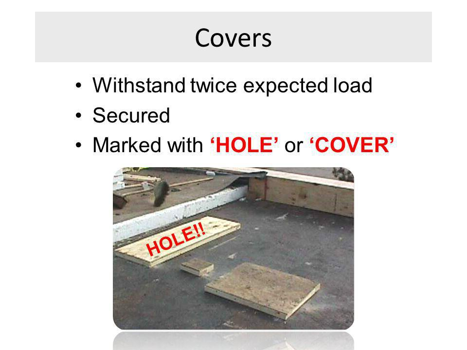 Covers Withstand twice expected load Secured
