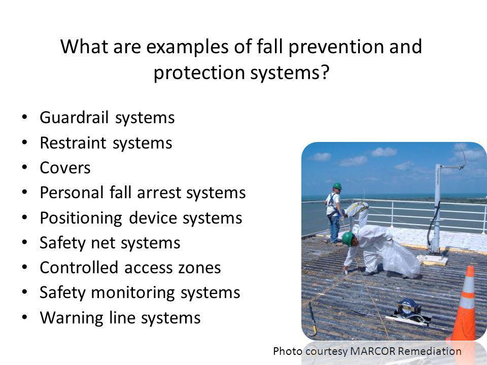 What are examples of fall prevention and protection systems