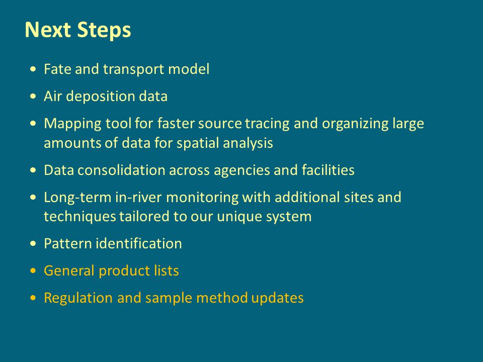 Next Steps Fate and transport model Air deposition data