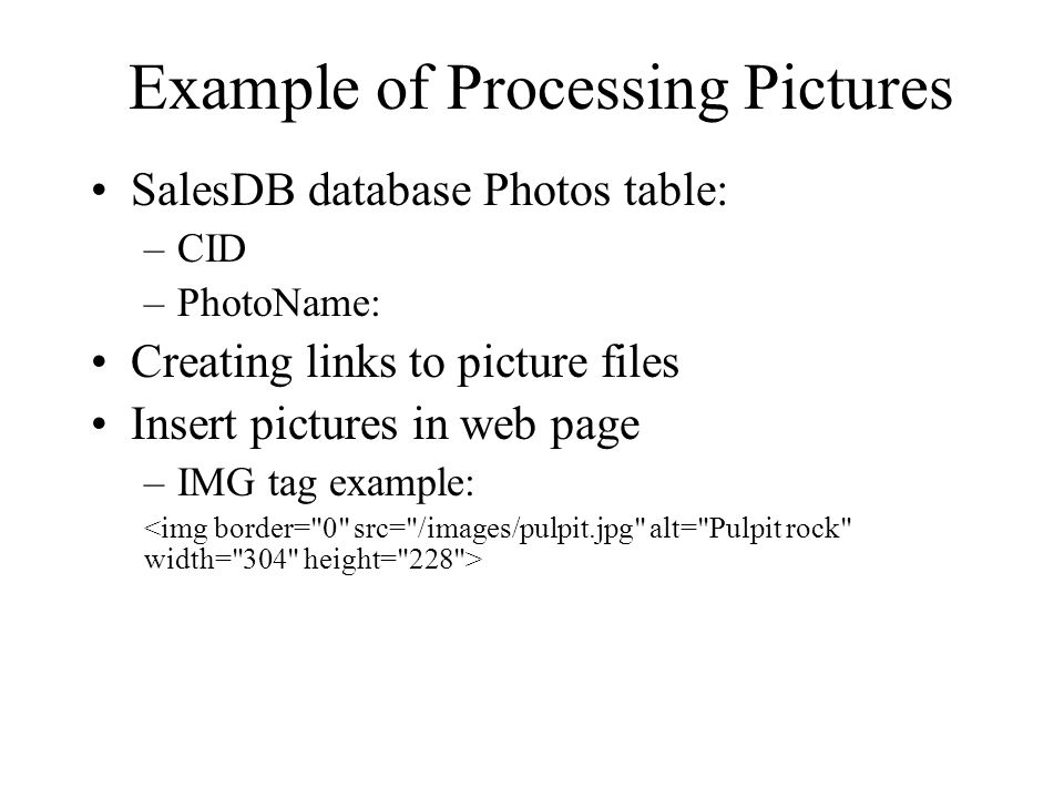 Example of Processing Pictures