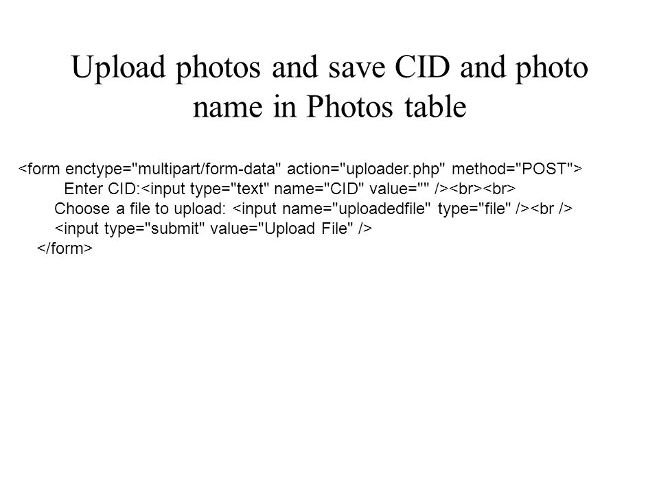 Upload photos and save CID and photo name in Photos table