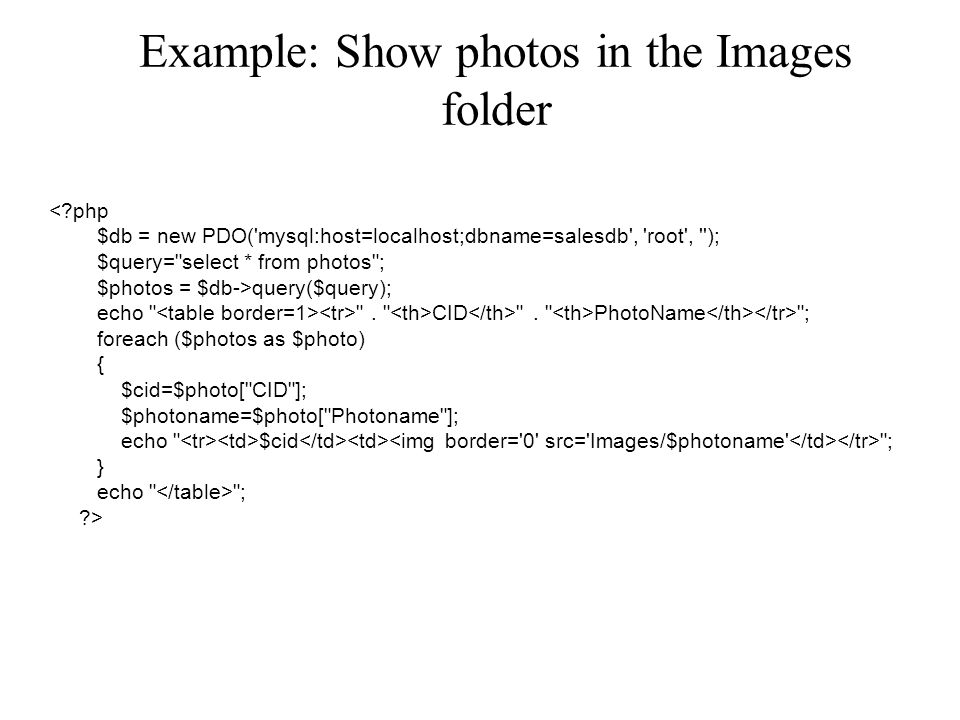 Example: Show photos in the Images folder