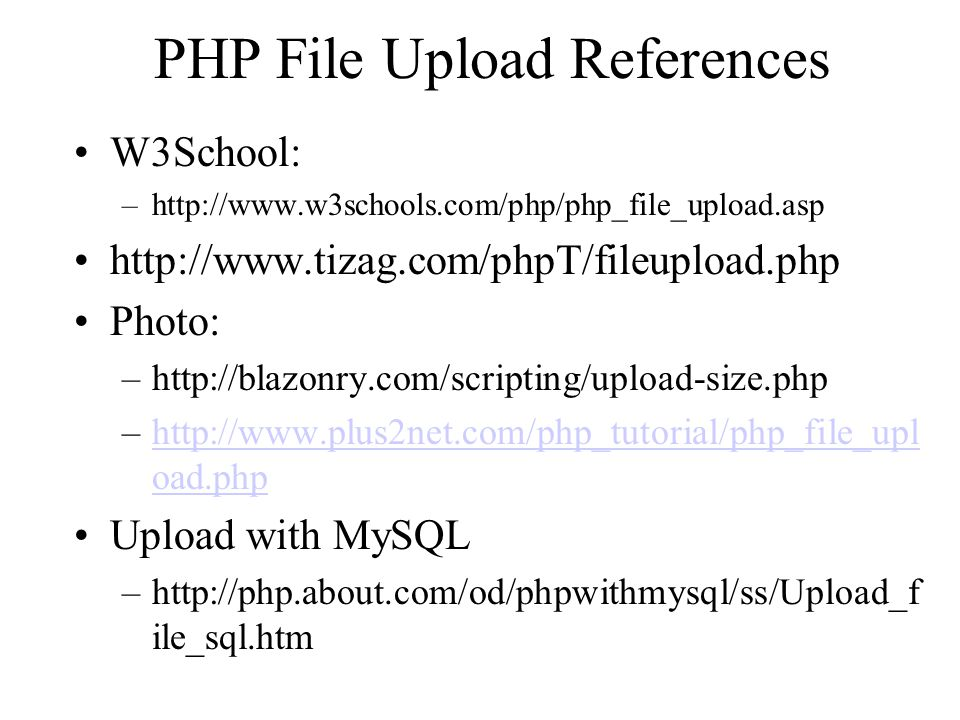 PHP File Upload References