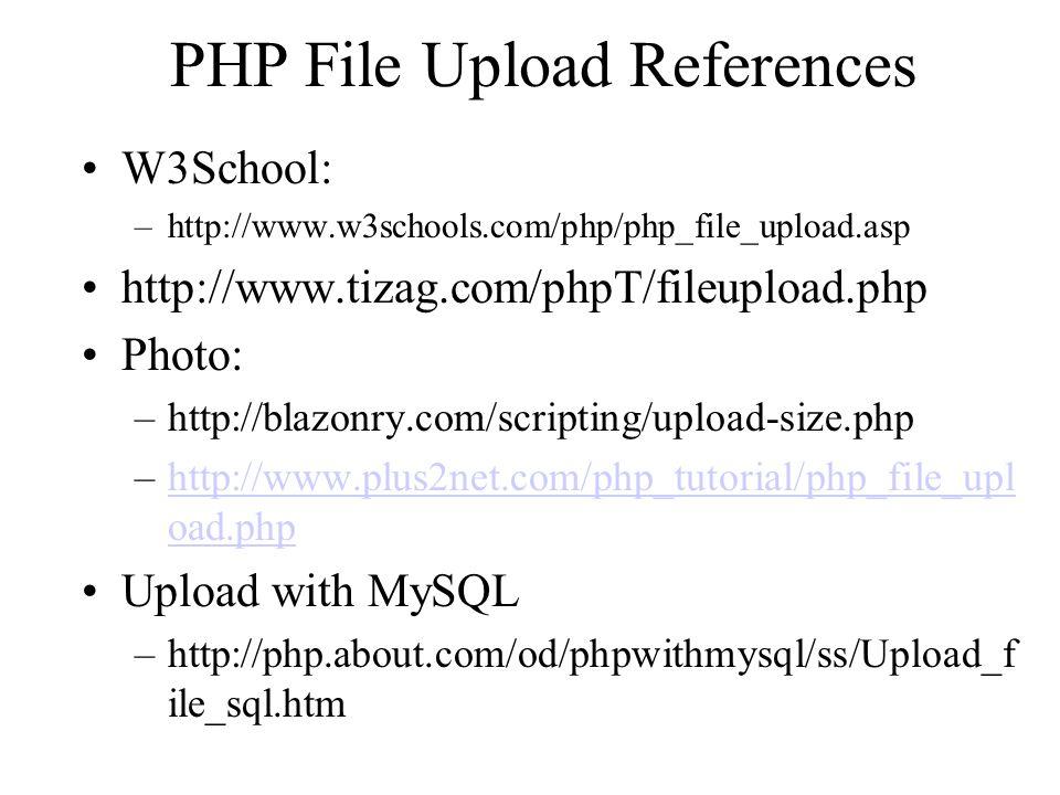 PHP File Upload References