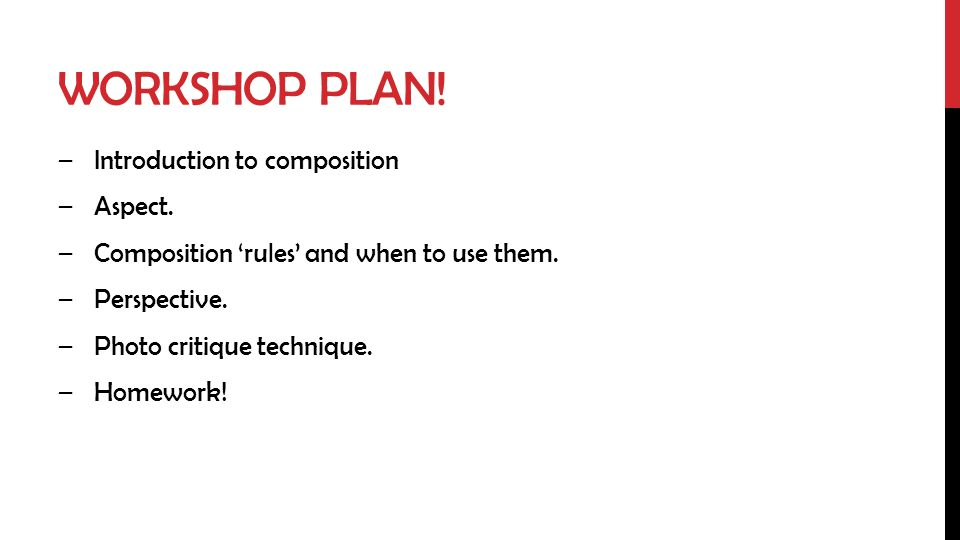 Workshop plan! Introduction to composition Aspect.
