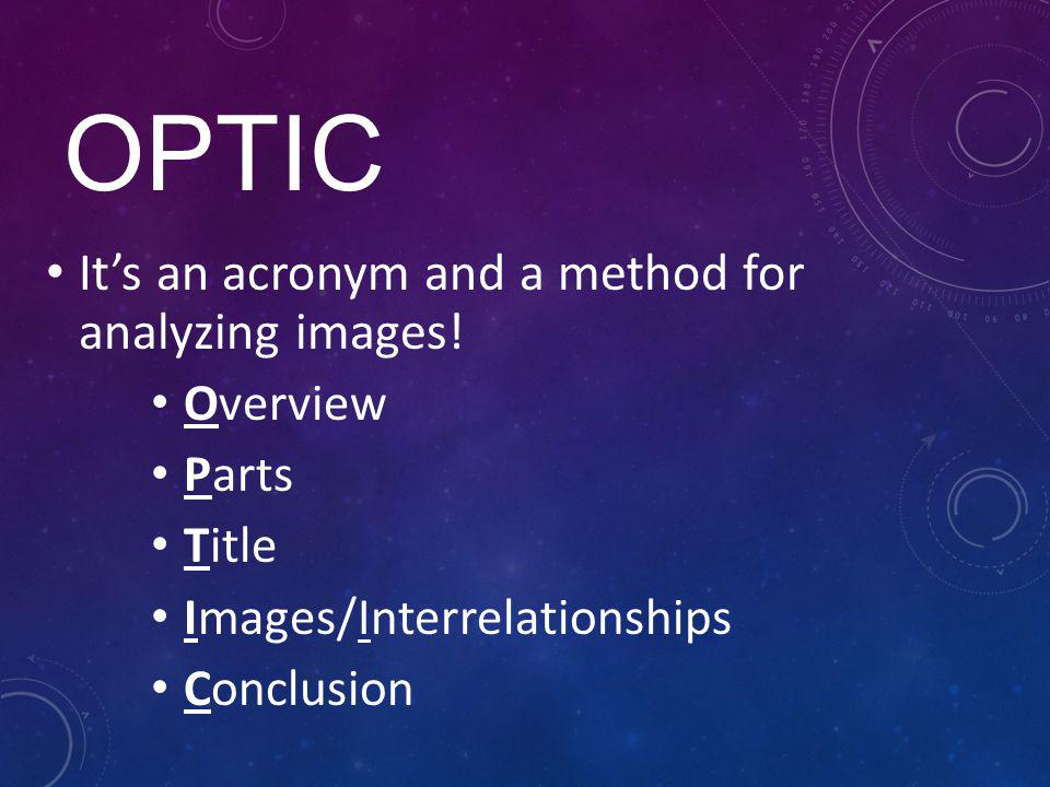 OPTIC It's an acronym and a method for analyzing images! Overview
