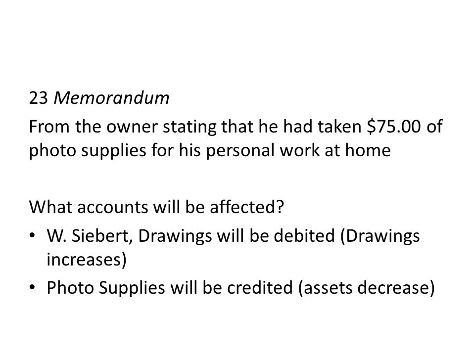 23 Memorandum From the owner stating that he had taken $75.00 of photo supplies for his personal work at home.