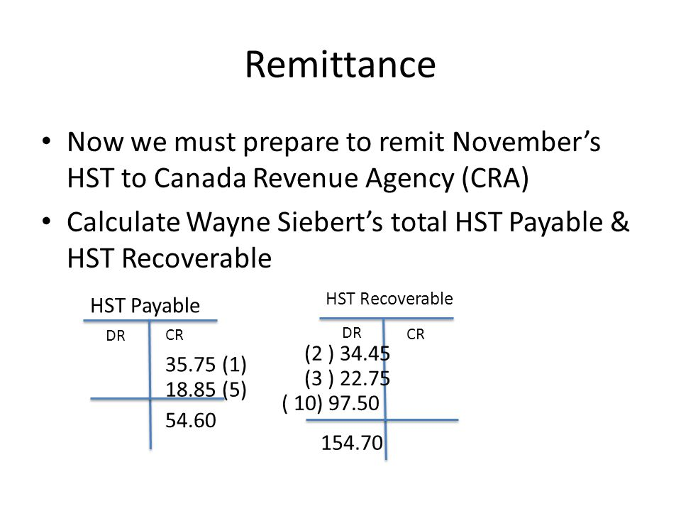 Remittance Now we must prepare to remit November's HST to Canada Revenue Agency (CRA) Calculate Wayne Siebert's total HST Payable & HST Recoverable.
