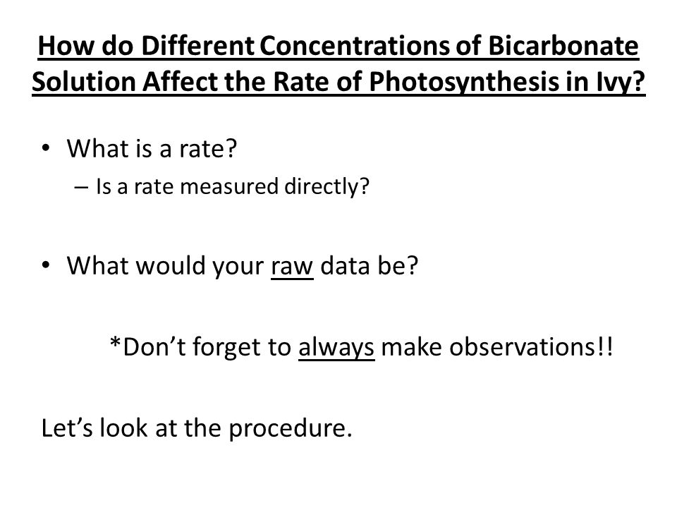 How do Different Concentrations of Bicarbonate Solution Affect the Rate of Photosynthesis in Ivy