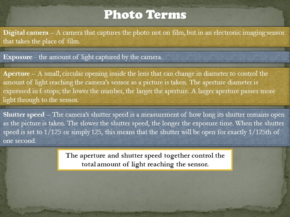 Photo Terms Digital camera – A camera that captures the photo not on film, but in an electronic imaging sensor that takes the place of film.