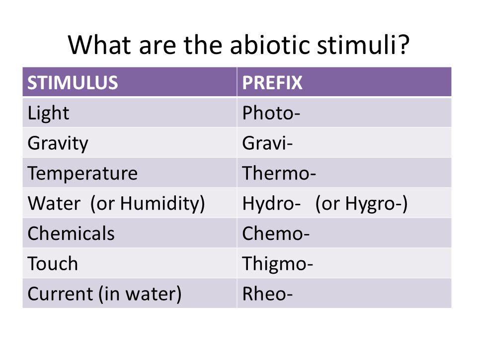 What are the abiotic stimuli