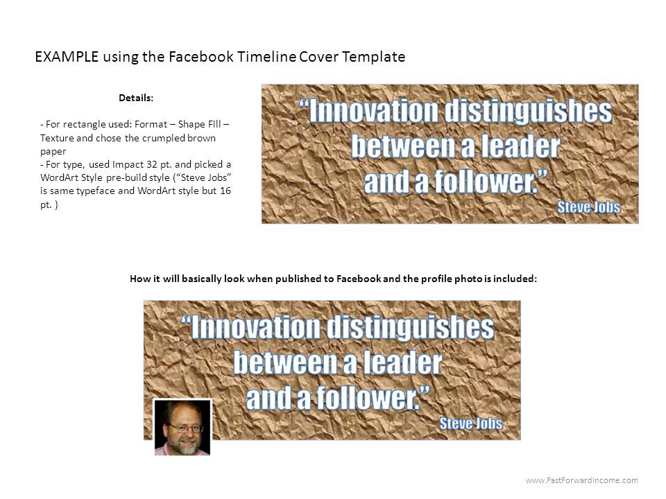 EXAMPLE using the Facebook Timeline Cover Template