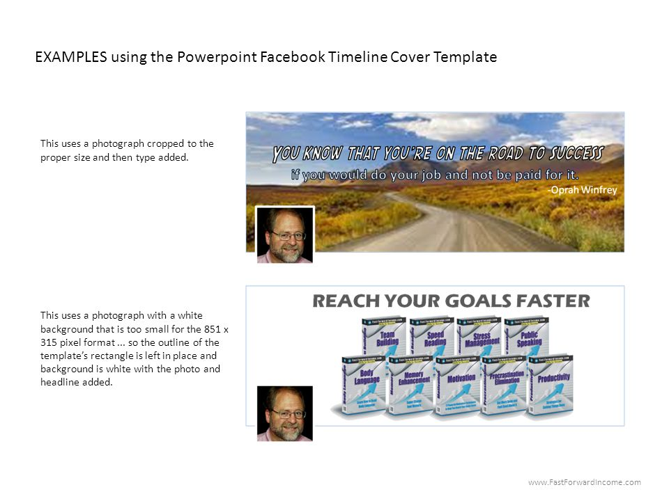 EXAMPLES using the Powerpoint Facebook Timeline Cover Template