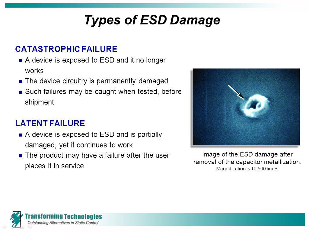 Types of ESD Damage CATASTROPHIC FAILURE LATENT FAILURE