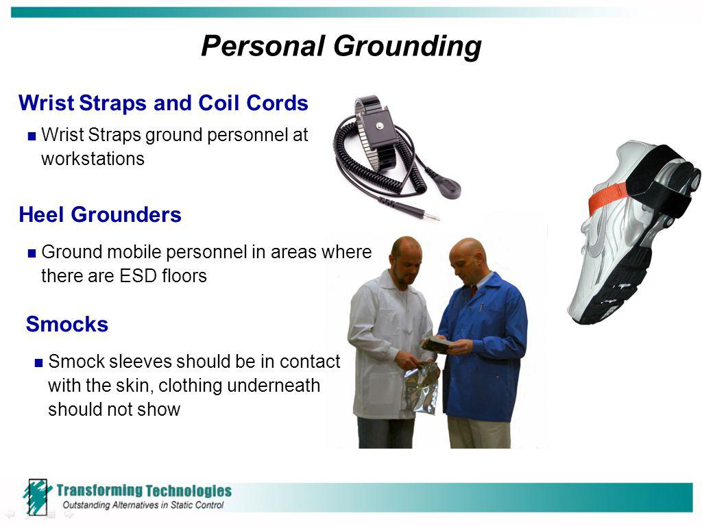 Personal Grounding Wrist Straps and Coil Cords Heel Grounders Smocks