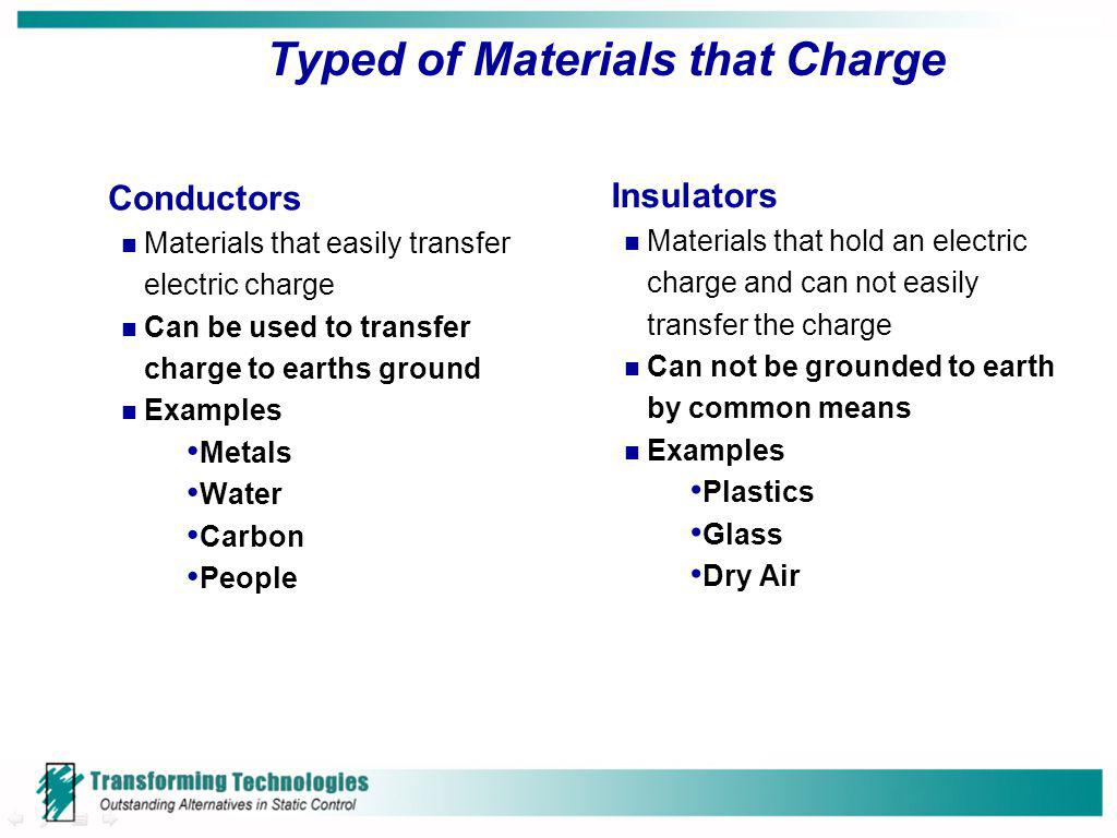 Typed of Materials that Charge