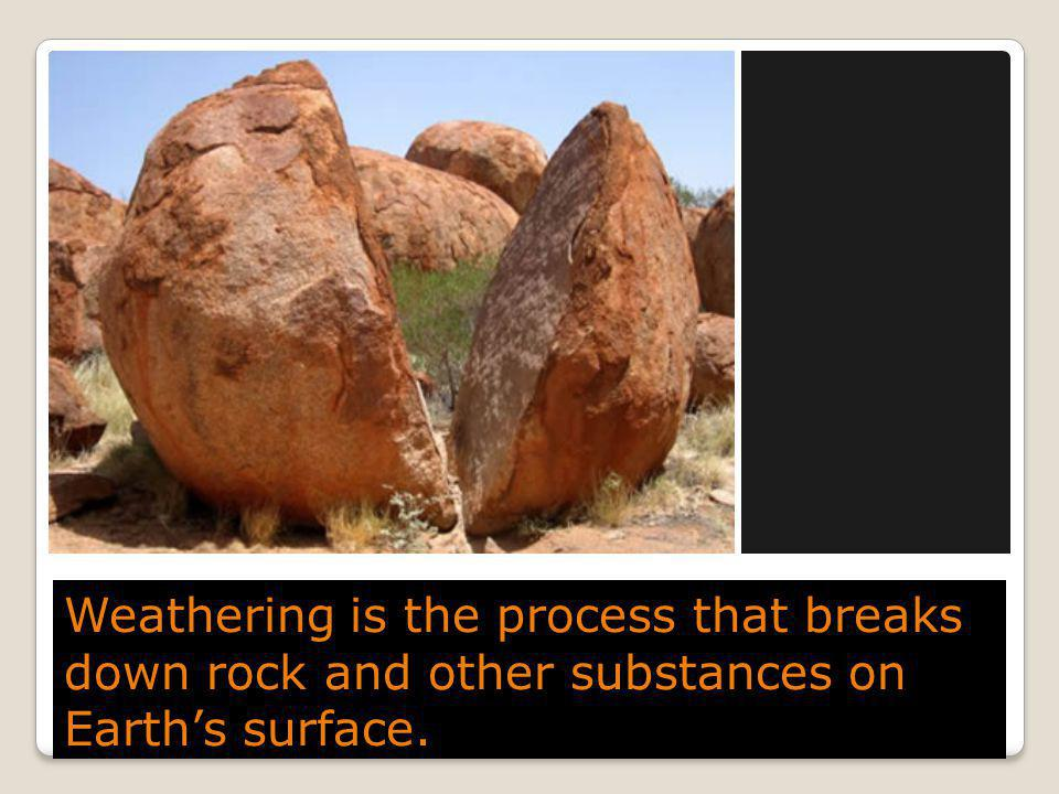 Weathering is the process that breaks down rock and other substances on Earth's surface.