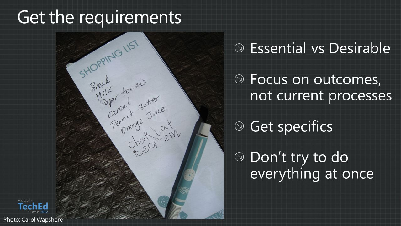 Get the requirements Essential vs Desirable