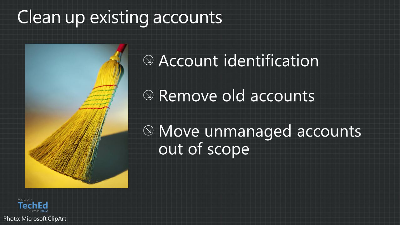 Clean up existing accounts