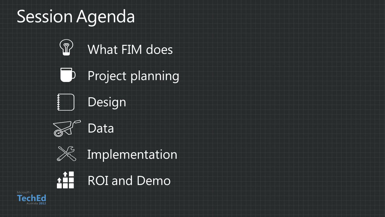 Session Agenda What FIM does Project planning Design Data