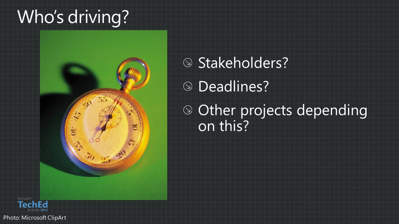 Who's driving Stakeholders Deadlines