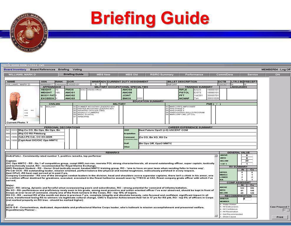 Briefing Guide GENERAL BAILEY