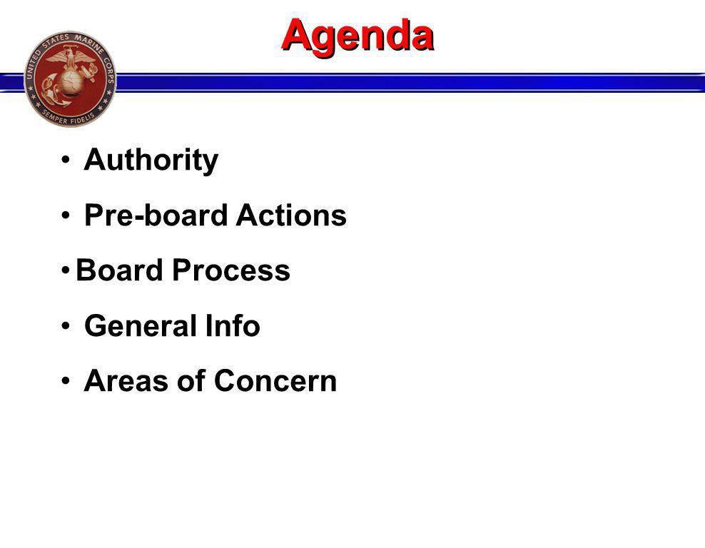 Agenda Authority Pre-board Actions Board Process General Info