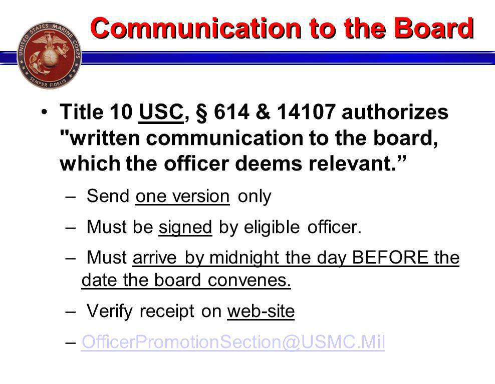 Communication to the Board