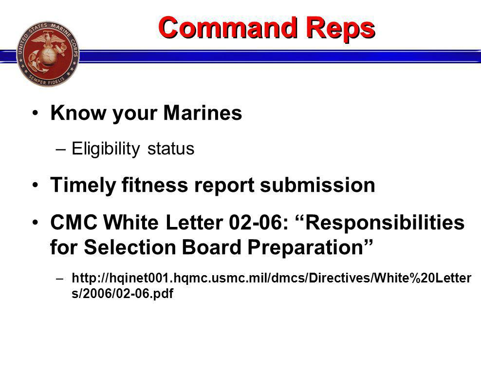 Command Reps Know your Marines Timely fitness report submission