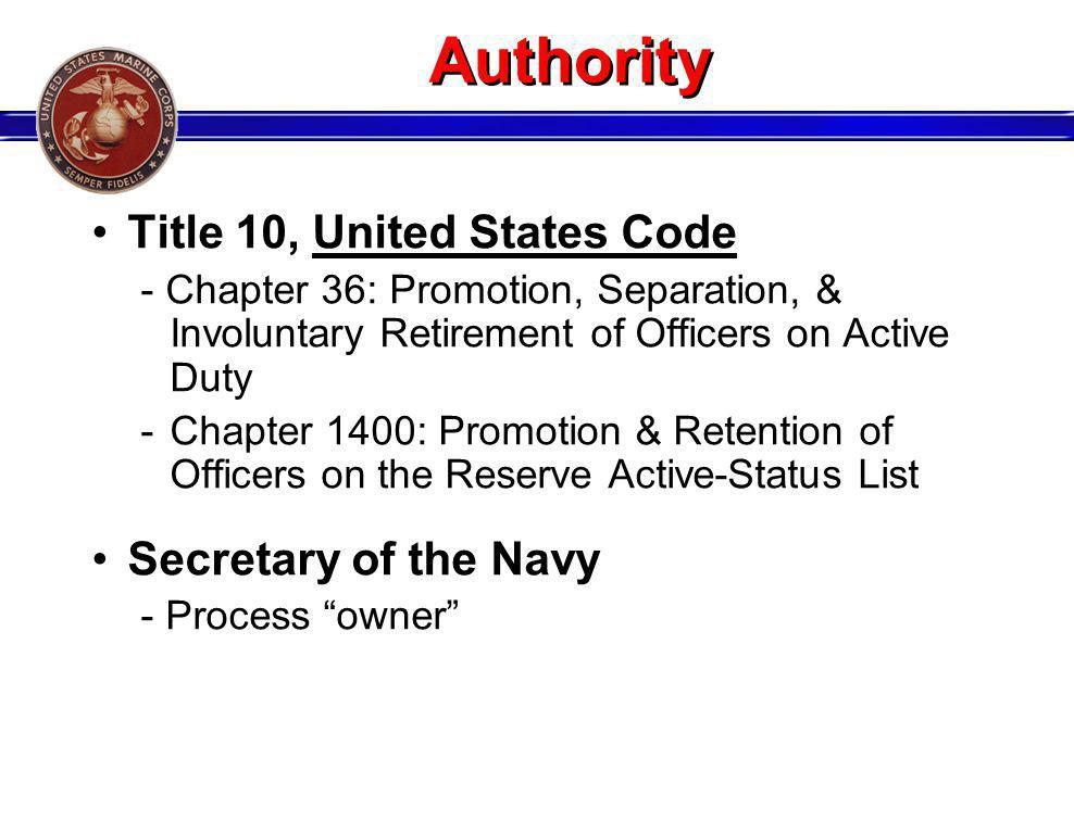 Authority Title 10, United States Code Secretary of the Navy