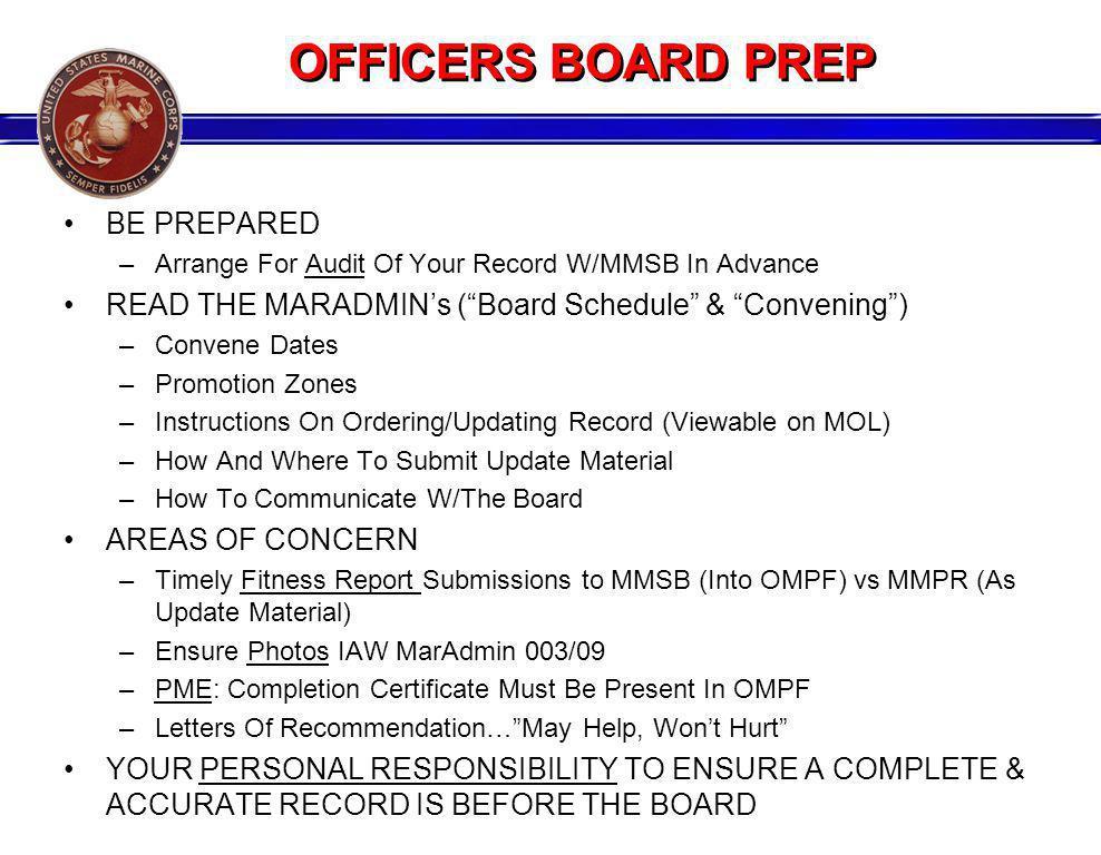 OFFICERS BOARD PREP BE PREPARED