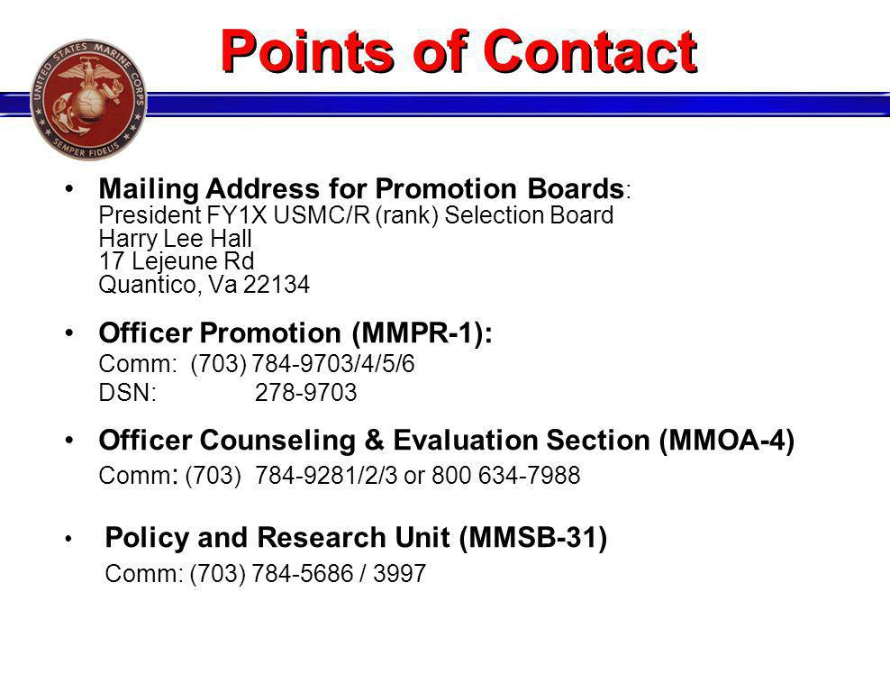 Points of Contact Mailing Address for Promotion Boards: