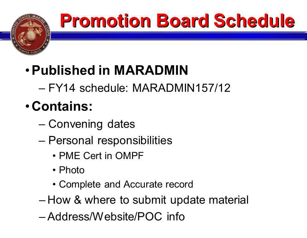 Promotion Board Schedule