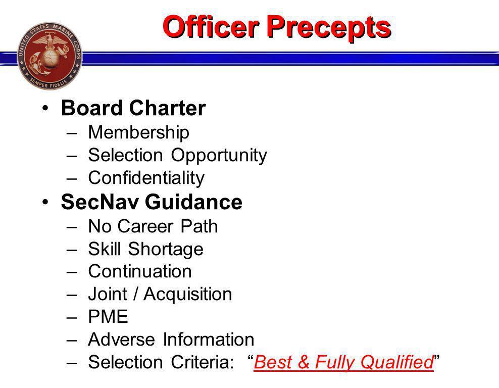Officer Precepts Board Charter SecNav Guidance Membership