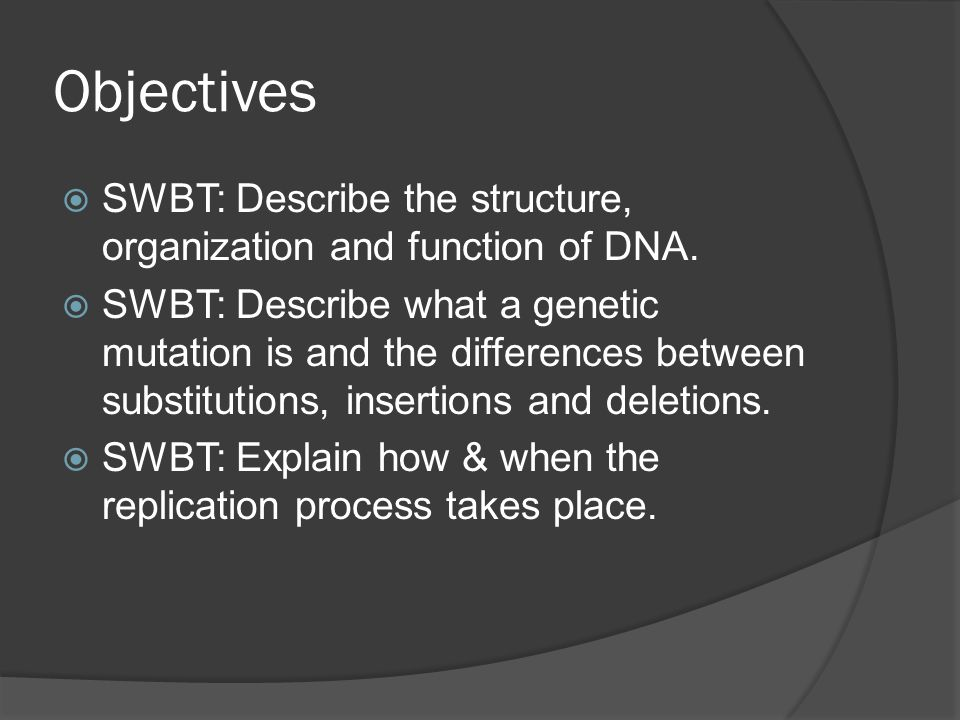 Objectives SWBT: Describe the structure, organization and function of DNA.