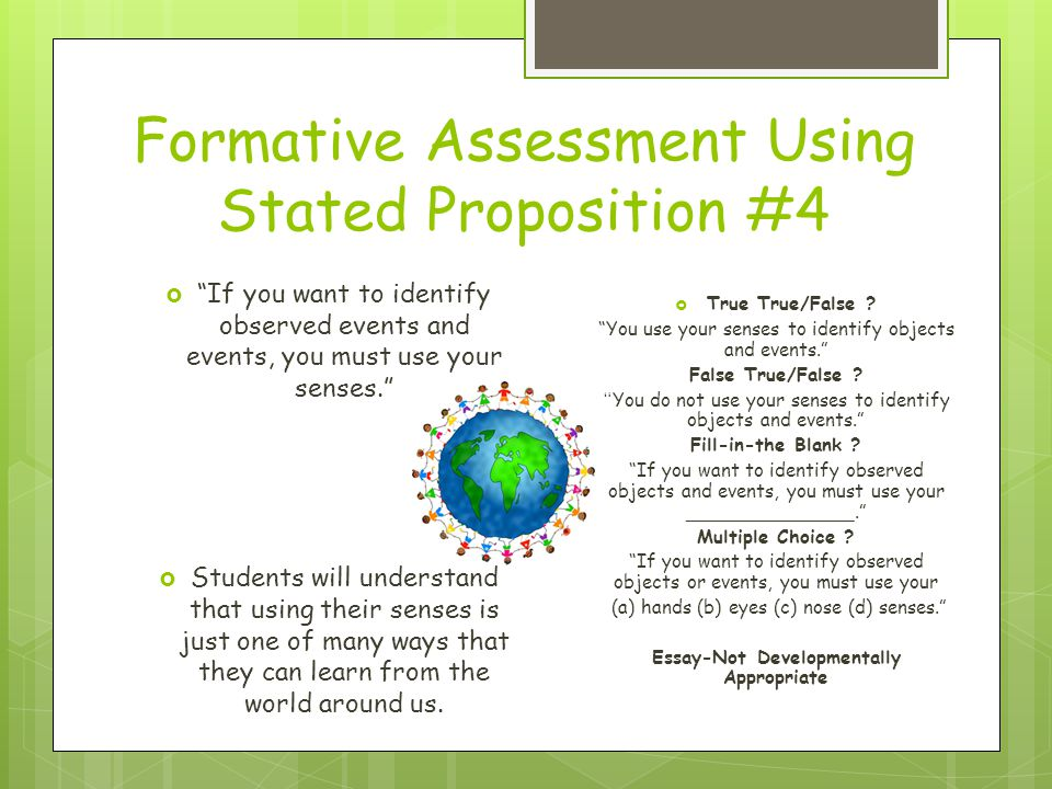 Formative Assessment Using Stated Proposition #4