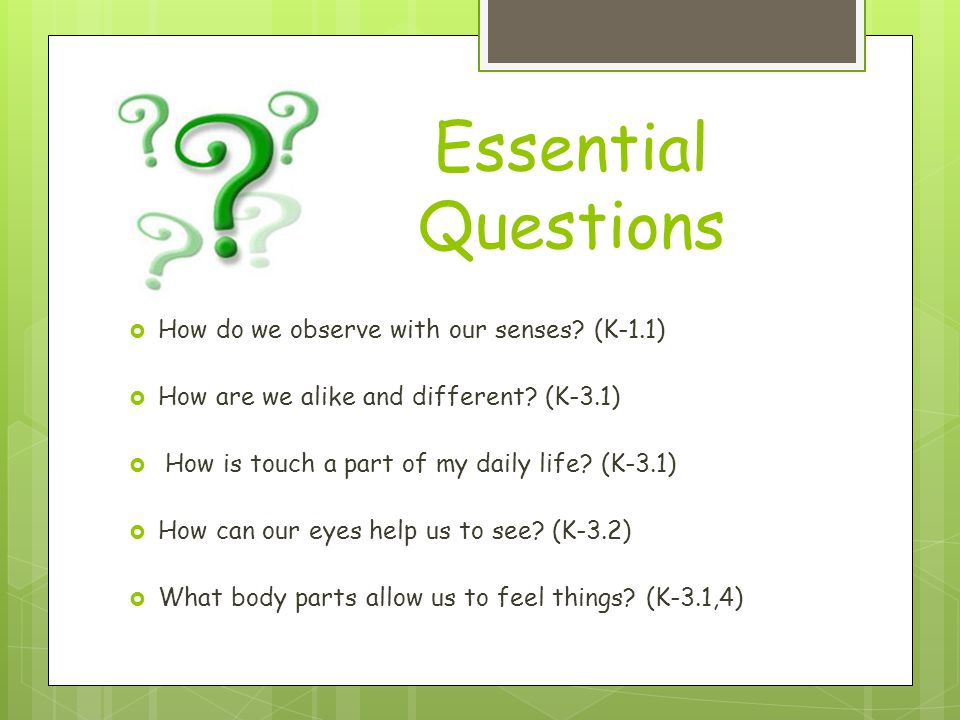 Essential Questions How do we observe with our senses (K-1.1)