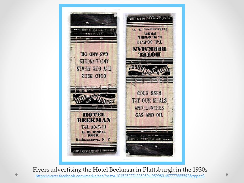 Flyers advertising the Hotel Beekman in Plattsburgh in the 1930s