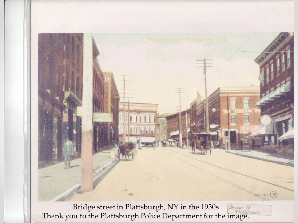 Bridge street in Plattsburgh, NY in the 1930s