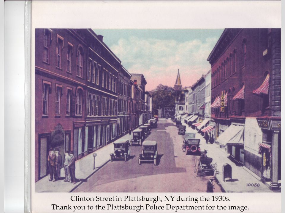 Clinton Street in Plattsburgh, NY during the 1930s.