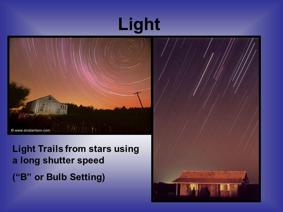 Light Light Trails from stars using a long shutter speed